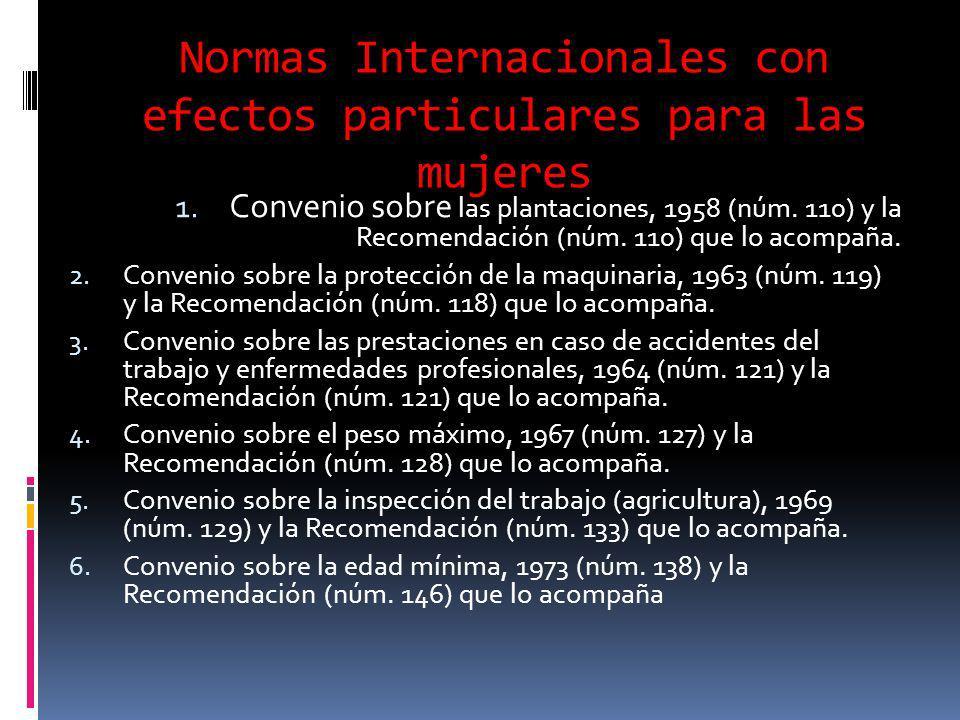 Normas Internacionales con efectos particulares para las mujeres 1.