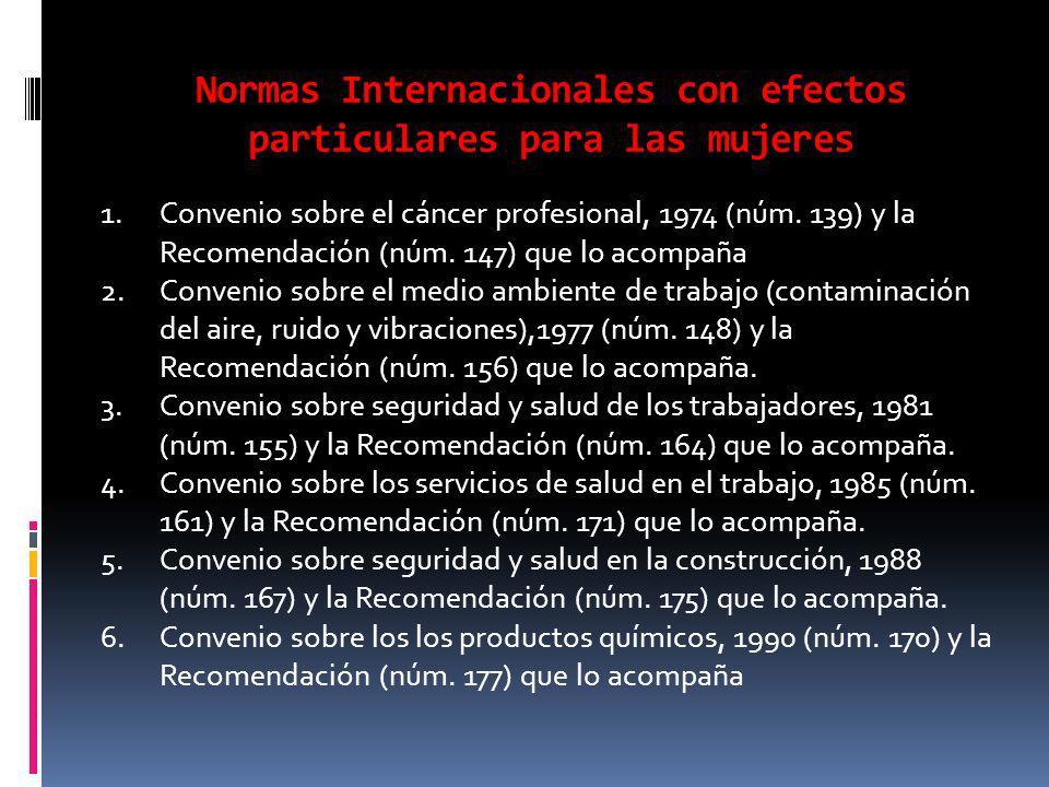 Normas Internacionales con efectos particulares para las mujeres 1.Convenio sobre el cáncer profesional, 1974 (núm.