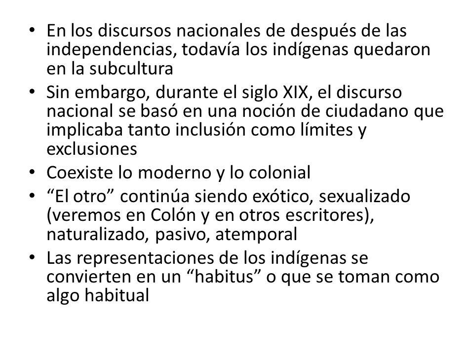 En los discursos nacionales de después de las independencias, todavía los indígenas quedaron en la subcultura Sin embargo, durante el siglo XIX, el di