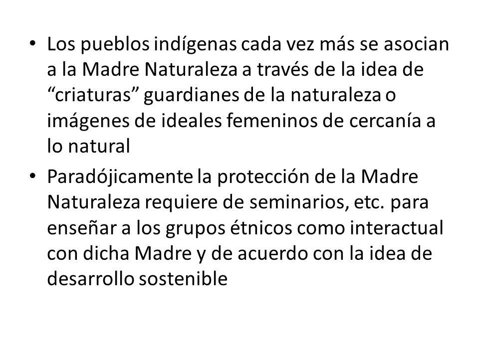 Los pueblos indígenas cada vez más se asocian a la Madre Naturaleza a través de la idea de criaturas guardianes de la naturaleza o imágenes de ideales