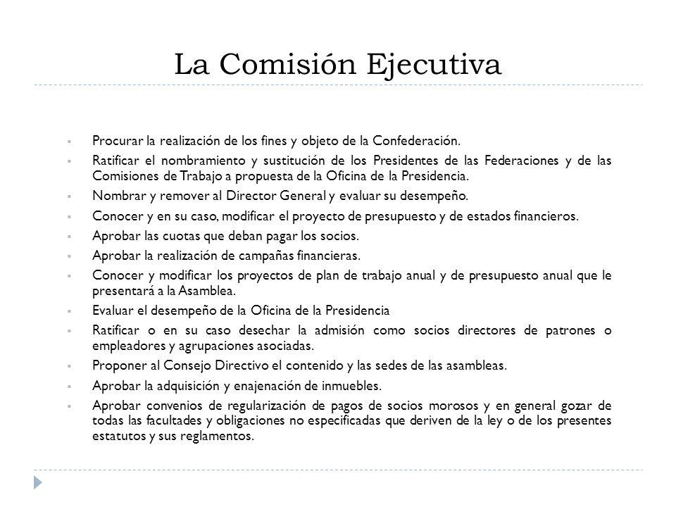 La Comisión Ejecutiva Procurar la realización de los fines y objeto de la Confederación. Ratificar el nombramiento y sustitución de los Presidentes de