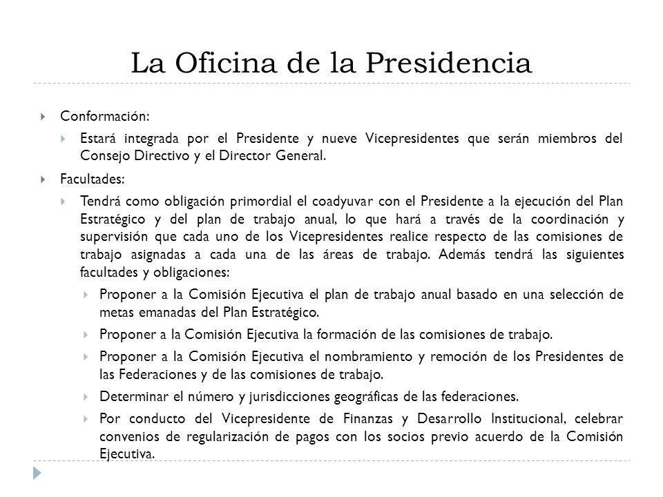 Conformación: Estará integrada por el Presidente y nueve Vicepresidentes que serán miembros del Consejo Directivo y el Director General. Facultades: T