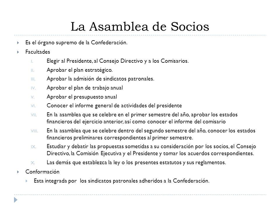 La Asamblea de Socios Es el órgano supremo de la Confederación. Facultades I. Elegir al Presidente, al Consejo Directivo y a los Comisarios. II. Aprob