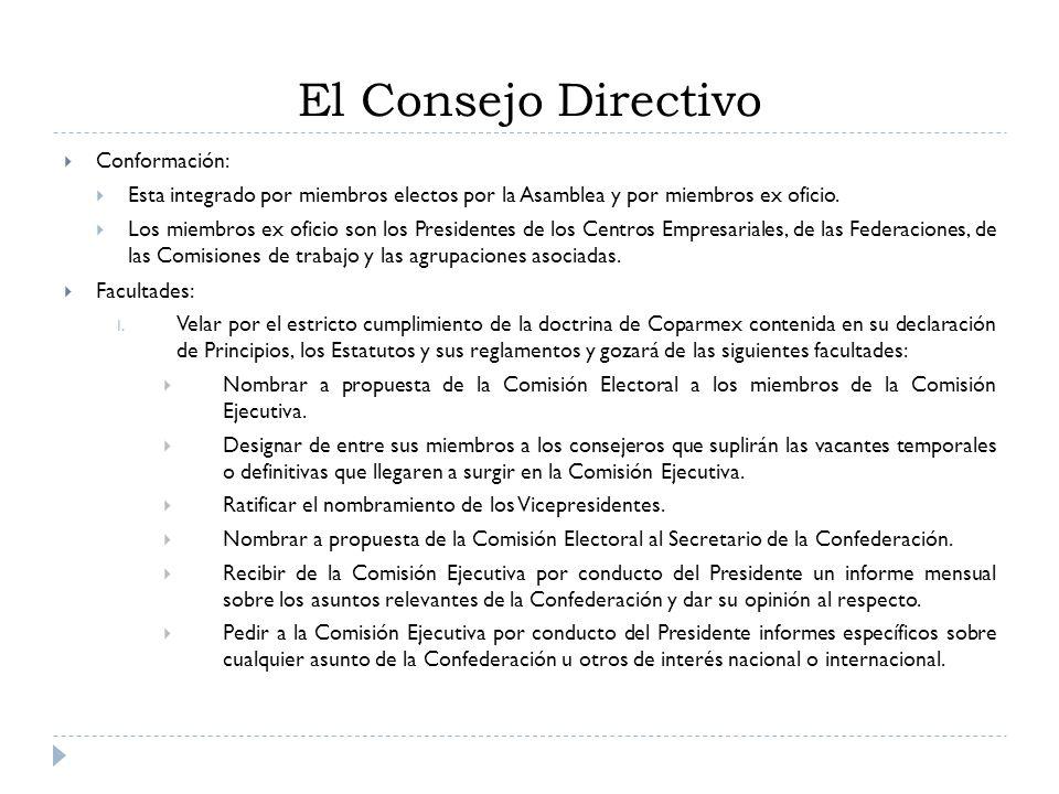 Conformación: Esta integrado por miembros electos por la Asamblea y por miembros ex oficio. Los miembros ex oficio son los Presidentes de los Centros