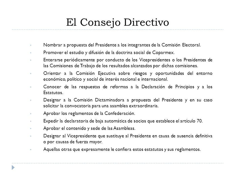 El Consejo Directivo Nombrar a propuesta del Presidente a los integrantes de la Comisión Electoral. Promover el estudio y difusión de la doctrina soci