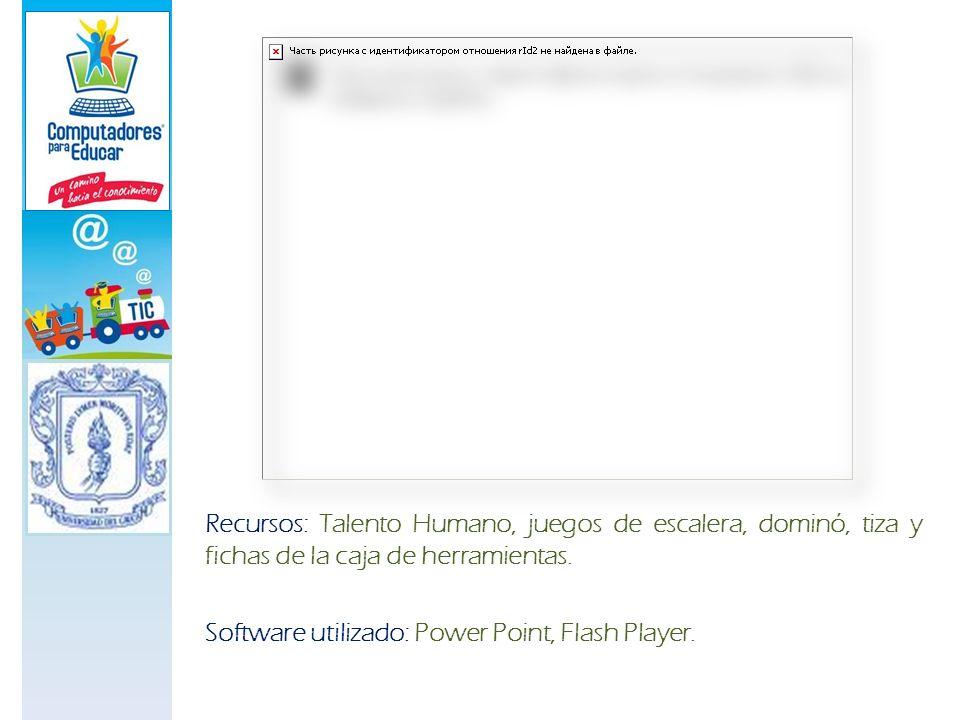 Recursos: Talento Humano, juegos de escalera, dominó, tiza y fichas de la caja de herramientas. Software utilizado: Power Point, Flash Player.
