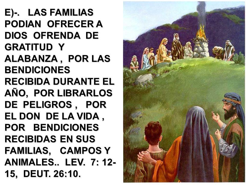 E)-. LAS FAMILIAS PODIAN OFRECER A DIOS OFRENDA DE GRATITUD Y ALABANZA, POR LAS BENDICIONES RECIBIDA DURANTE EL AÑO, POR LIBRARLOS DE PELIGROS, POR EL