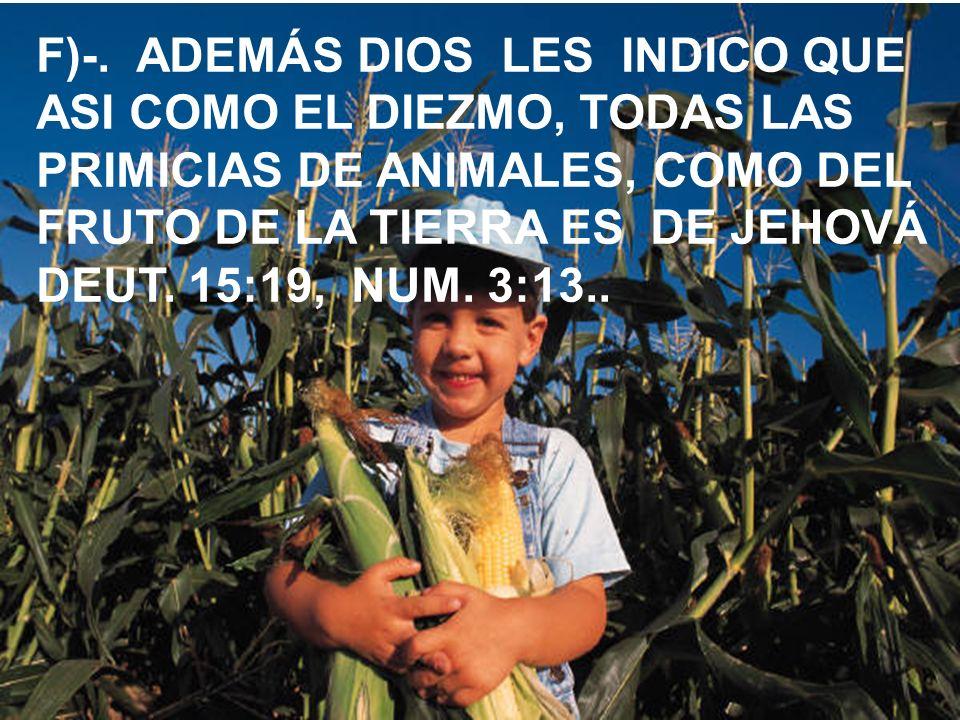 F)-. ADEMÁS DIOS LES INDICO QUE ASI COMO EL DIEZMO, TODAS LAS PRIMICIAS DE ANIMALES, COMO DEL FRUTO DE LA TIERRA ES DE JEHOVÁ DEUT. 15:19, NUM. 3:13..