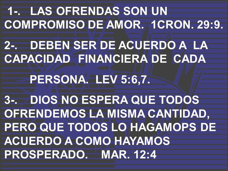1-. LAS OFRENDAS SON UN COMPROMISO DE AMOR. 1CRON. 29:9. 2-. DEBEN SER DE ACUERDO A LA CAPACIDAD FINANCIERA DE CADA PERSONA. LEV 5:6,7. 3-. DIOS NO ES