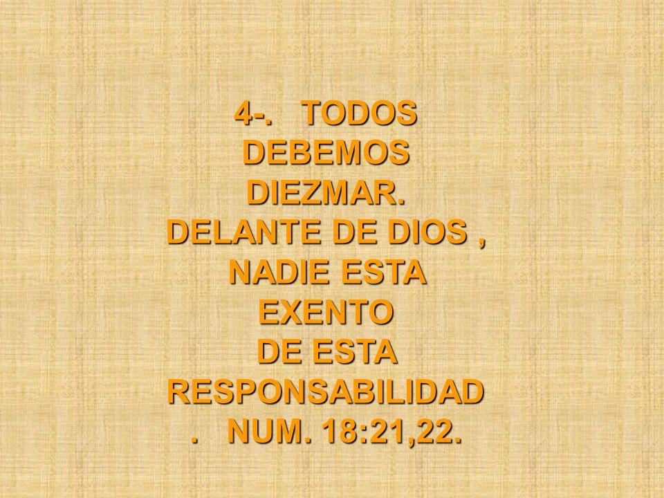 4-. TODOS DEBEMOS DIEZMAR. DELANTE DE DIOS, NADIE ESTA EXENTO DE ESTA RESPONSABILIDAD. NUM. 18:21,22.