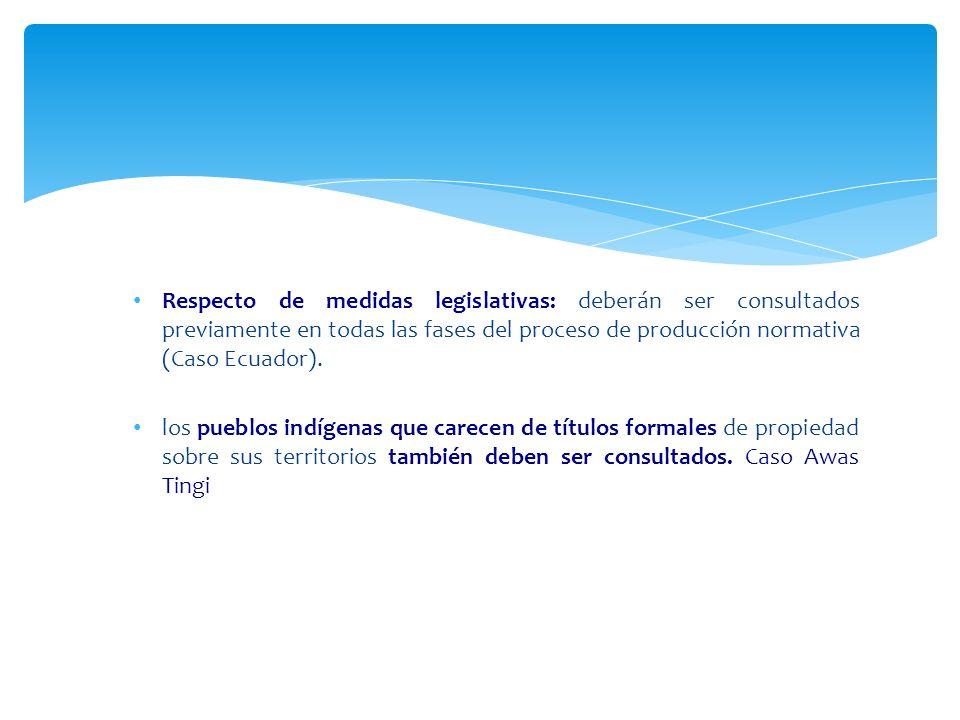 Respecto de medidas legislativas: deberán ser consultados previamente en todas las fases del proceso de producción normativa (Caso Ecuador). los puebl