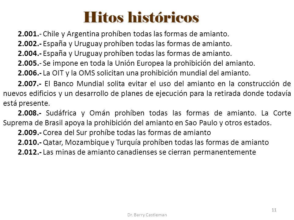 11 Hitos históricos Dr. Barry Castleman 2.001.- Chile y Argentina prohíben todas las formas de amianto. 2.002.- España y Uruguay prohíben todas las fo