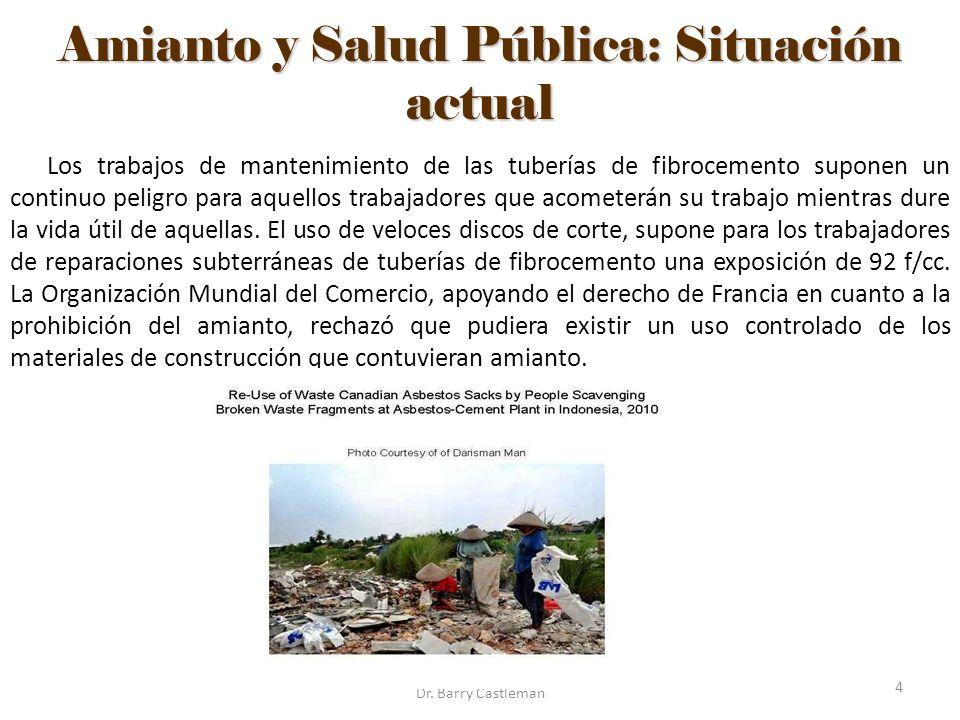 Amianto y Salud Pública: Situación actual Los trabajos de mantenimiento de las tuberías de fibrocemento suponen un continuo peligro para aquellos trab