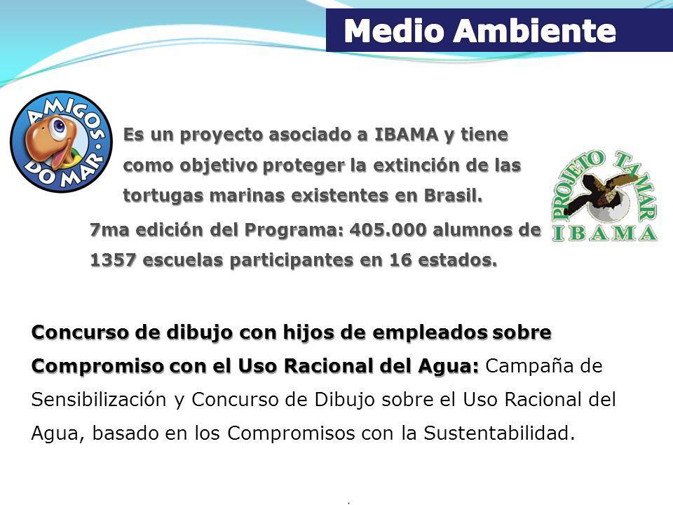 Es un proyecto asociado a IBAMA y tiene como objetivo proteger la extinción de las tortugas marinas existentes en Brasil. 7ma edición del Programa: 40