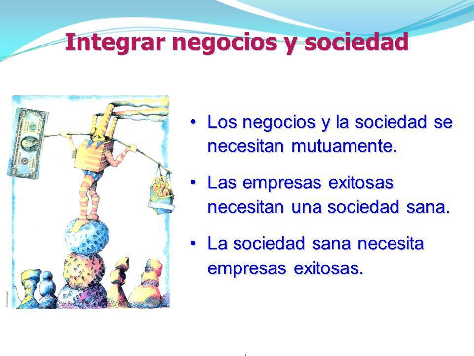 Integrar negocios y sociedad Los negocios y la sociedad se necesitan mutuamente.Los negocios y la sociedad se necesitan mutuamente. Las empresas exito