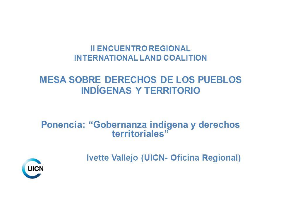 II ENCUENTRO REGIONAL INTERNATIONAL LAND COALITION MESA SOBRE DERECHOS DE LOS PUEBLOS INDÍGENAS Y TERRITORIO Ponencia: Gobernanza indígena y derechos
