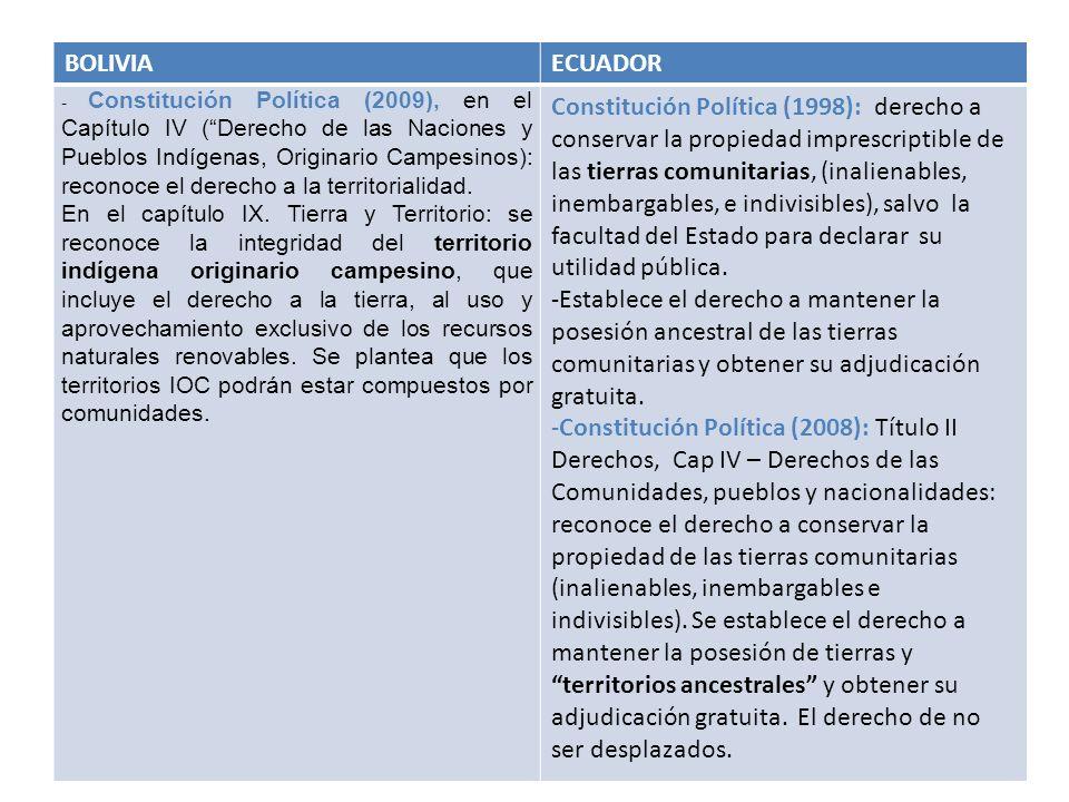BOLIVIAECUADOR - Constitución Política (2009), en el Capítulo IV (Derecho de las Naciones y Pueblos Indígenas, Originario Campesinos): reconoce el der