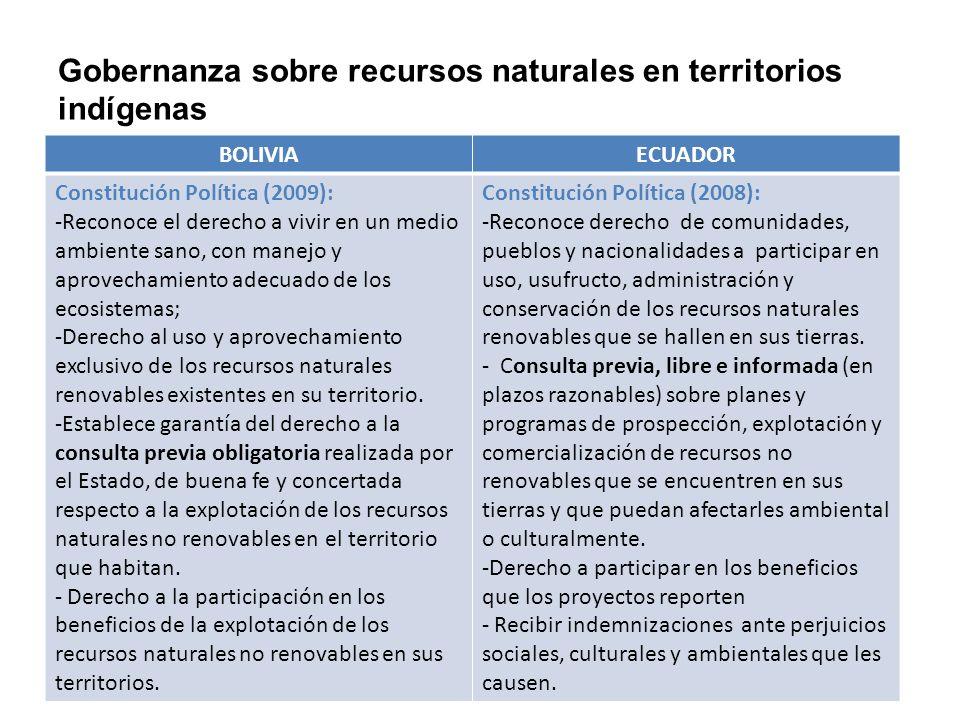 Gobernanza sobre recursos naturales en territorios indígenas BOLIVIAECUADOR Constitución Política (2009): -Reconoce el derecho a vivir en un medio amb