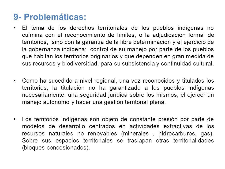 9- Problemáticas: El tema de los derechos territoriales de los pueblos indígenas no culmina con el reconocimiento de límites, o la adjudicación formal