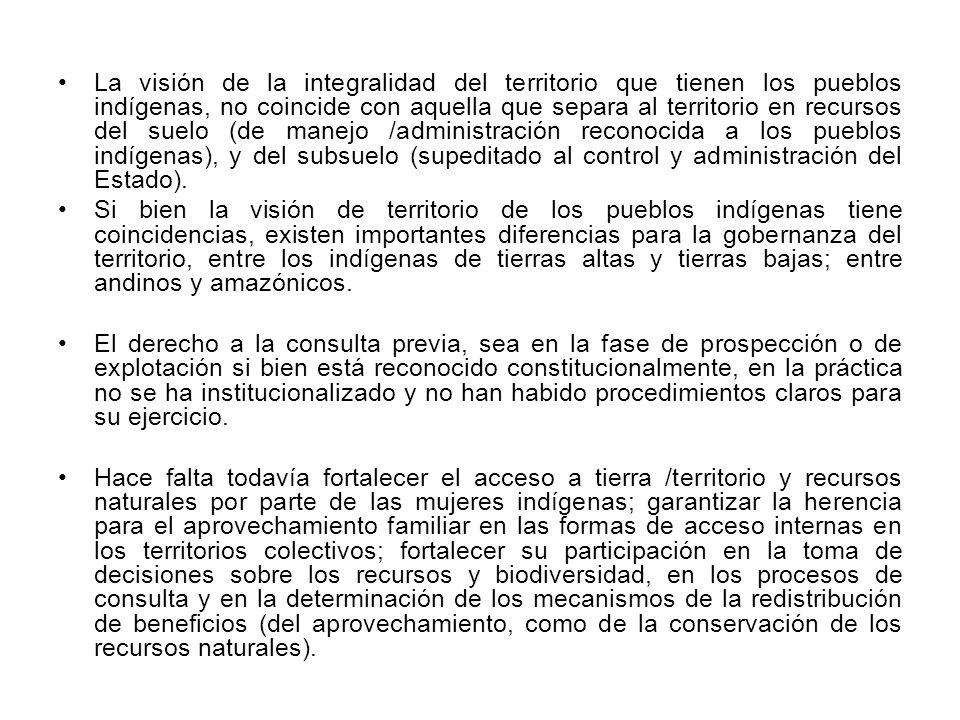 La visión de la integralidad del territorio que tienen los pueblos indígenas, no coincide con aquella que separa al territorio en recursos del suelo (