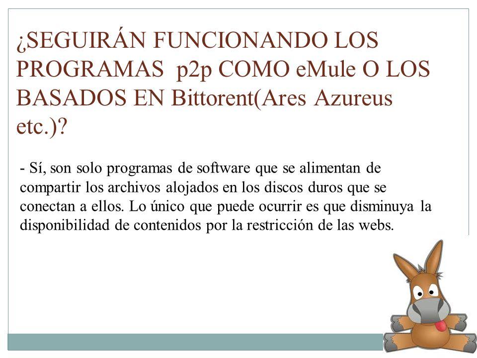 ¿SEGUIRÁN FUNCIONANDO LOS PROGRAMAS p2p COMO eMule O LOS BASADOS EN Bittorent(Ares Azureus etc.)? - Sí, son solo programas de software que se alimenta