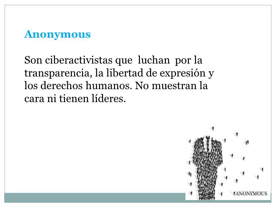 Anonymous Son ciberactivistas que luchan por la transparencia, la libertad de expresión y los derechos humanos.
