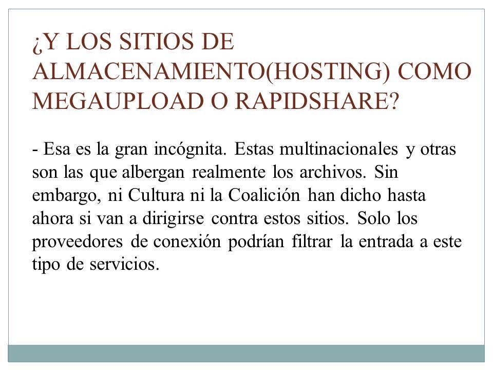 ¿Y LOS SITIOS DE ALMACENAMIENTO(HOSTING) COMO MEGAUPLOAD O RAPIDSHARE.