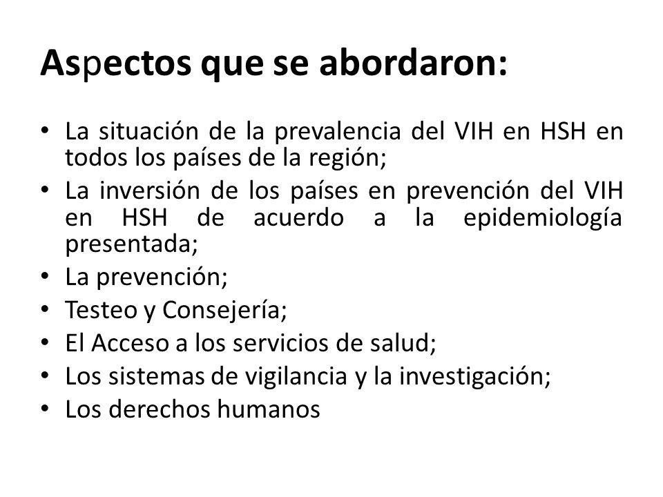 Aspectos que se abordaron: La situación de la prevalencia del VIH en HSH en todos los países de la región; La inversión de los países en prevención del VIH en HSH de acuerdo a la epidemiología presentada; La prevención; Testeo y Consejería; El Acceso a los servicios de salud; Los sistemas de vigilancia y la investigación; Los derechos humanos