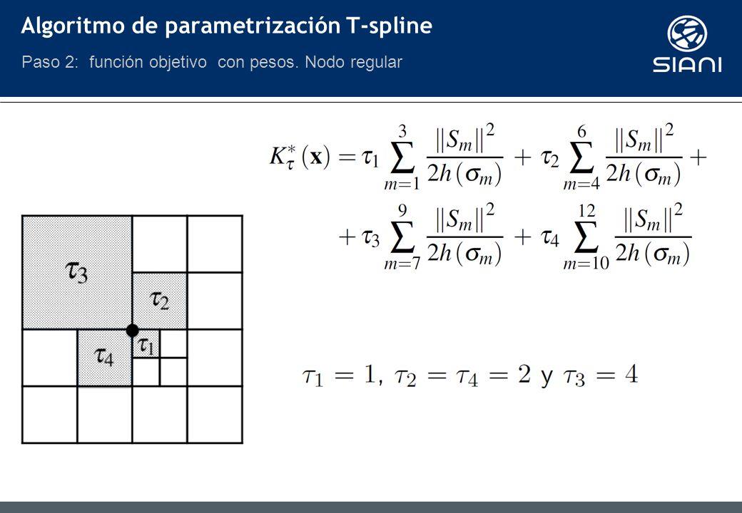 Algoritmo de parametrización T-spline Paso 2: función objetivo con pesos. Nodo regular