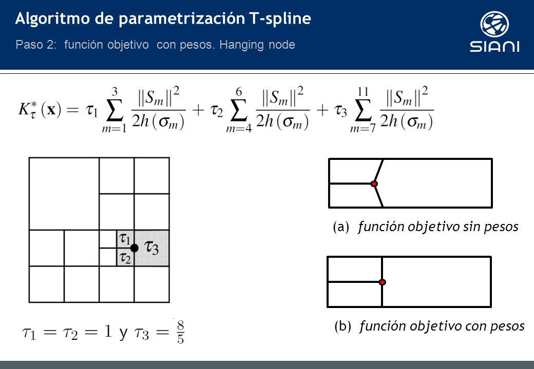 (b) función objetivo con pesos (a) función objetivo sin pesos Algoritmo de parametrización T-spline Paso 2: función objetivo con pesos.