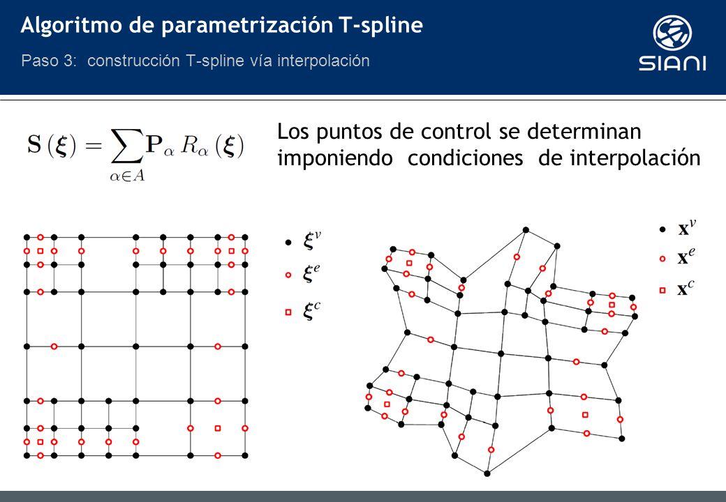 Los puntos de control se determinan imponiendo condiciones de interpolación Algoritmo de parametrización T-spline Paso 3: construcción T-spline vía interpolación
