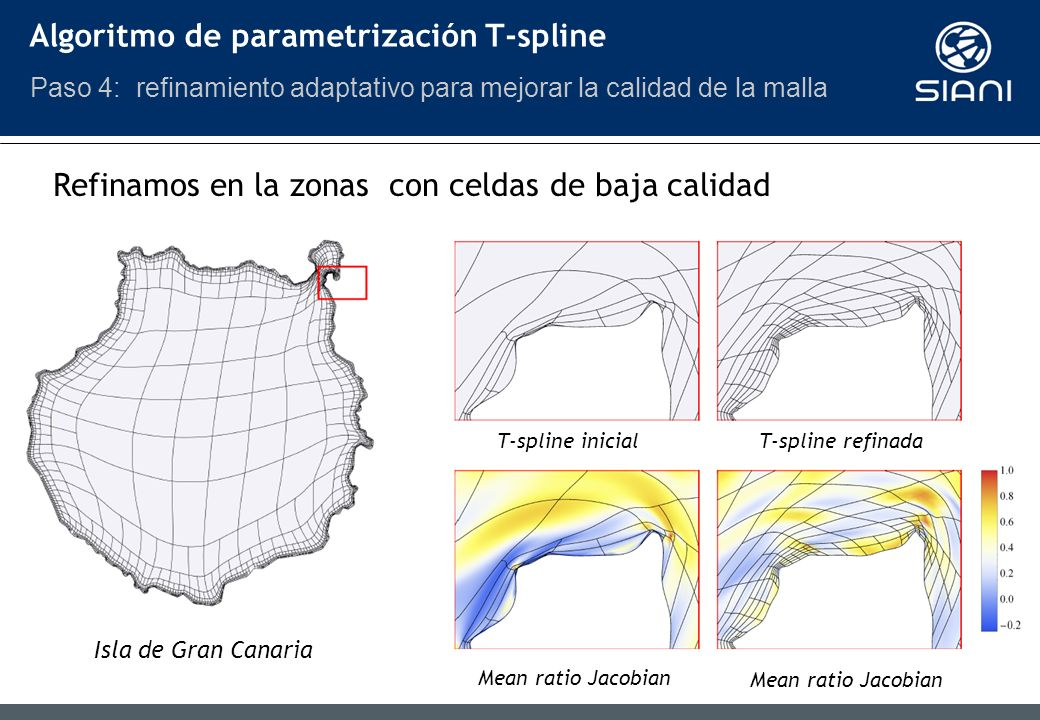 Refinamos en la zonas con celdas de baja calidad T-spline inicial T-spline refinada Mean ratio Jacobian Isla de Gran Canaria Algoritmo de parametrización T-spline Paso 4: refinamiento adaptativo para mejorar la calidad de la malla
