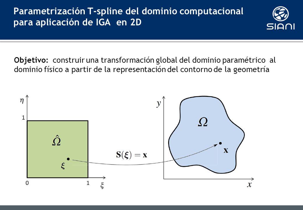 Parametrización T-spline del dominio computacional para aplicación de IGA en 2D Objetivo: construir una transformación global del dominio paramétrico al dominio físico a partir de la representación del contorno de la geometría