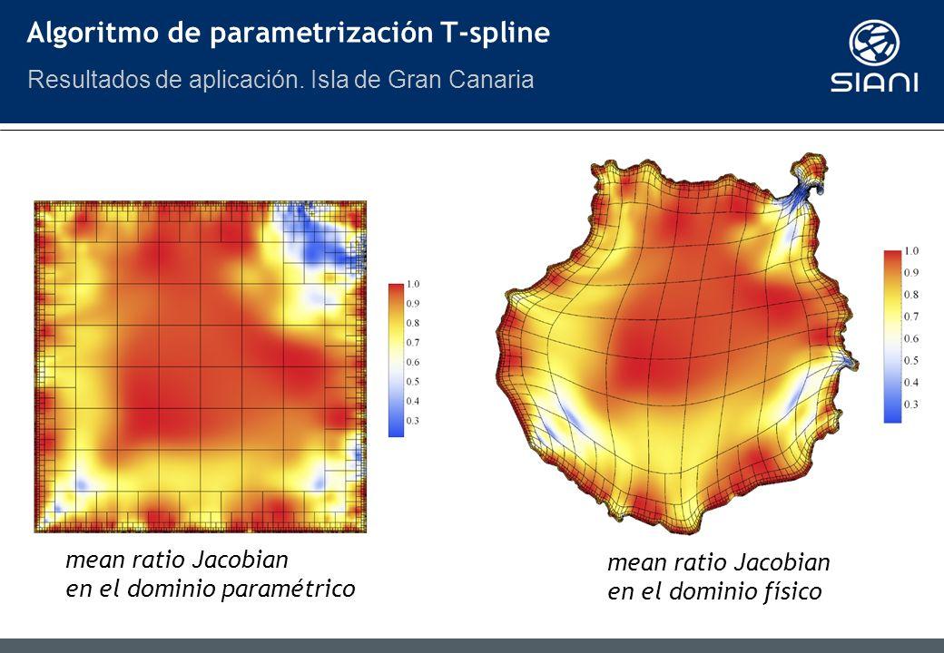 mean ratio Jacobian en el dominio paramétrico mean ratio Jacobian en el dominio físico Algoritmo de parametrización T-spline Resultados de aplicación.
