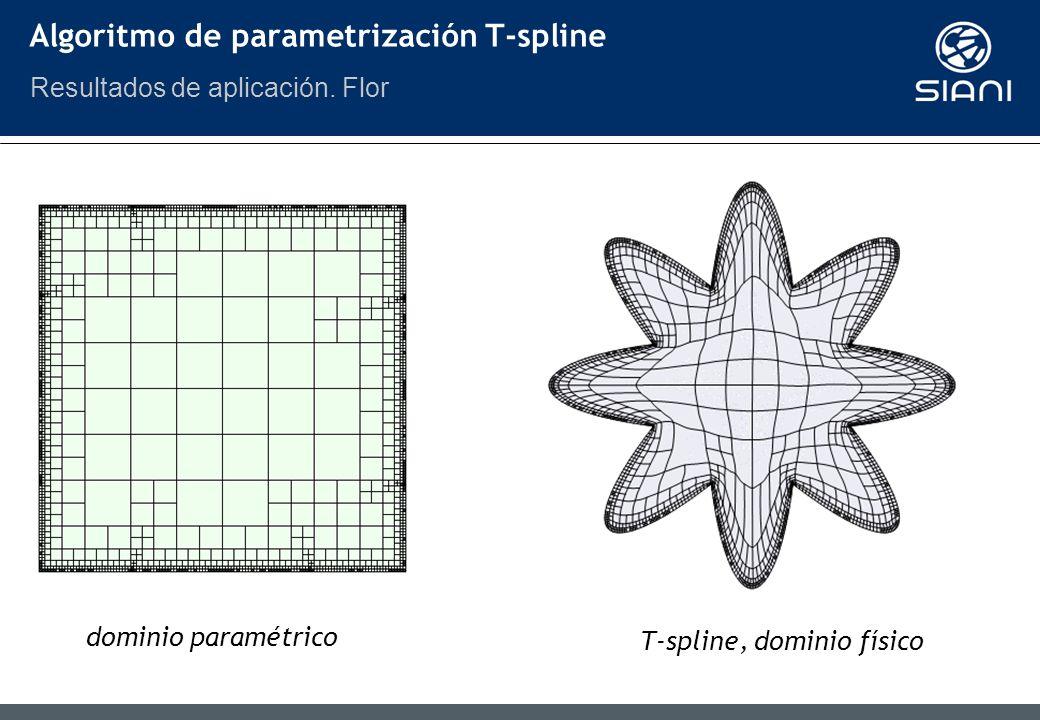 dominio paramétrico T-spline, dominio físico Algoritmo de parametrización T-spline Resultados de aplicación.
