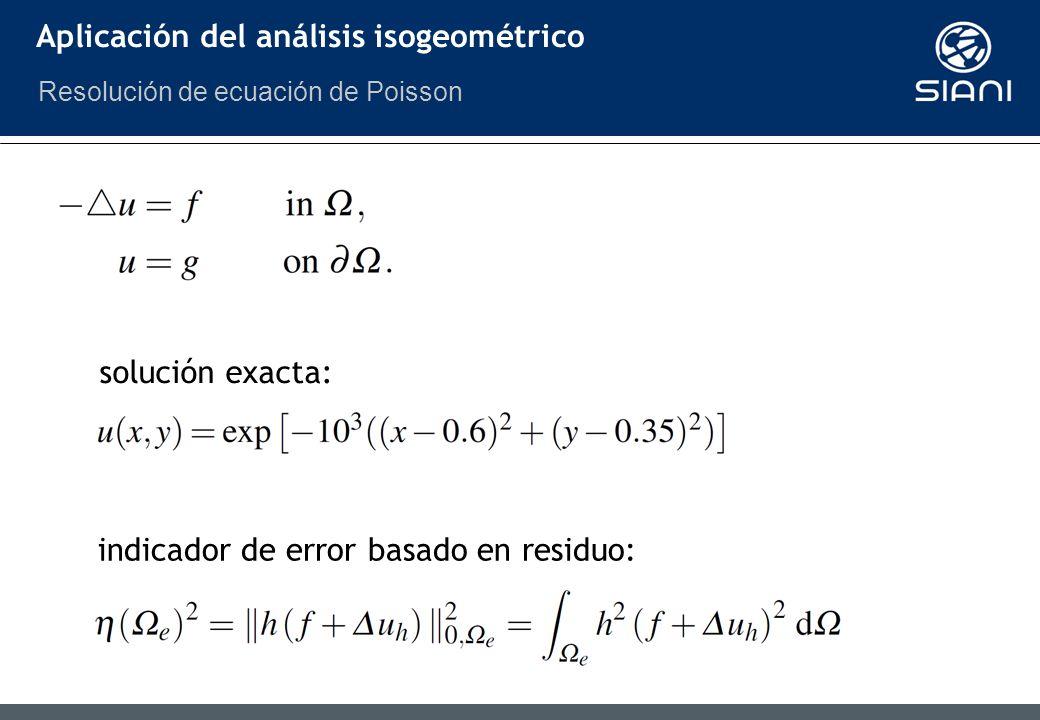 Aplicación del análisis isogeométrico solución exacta: indicador de error basado en residuo: Resolución de ecuación de Poisson