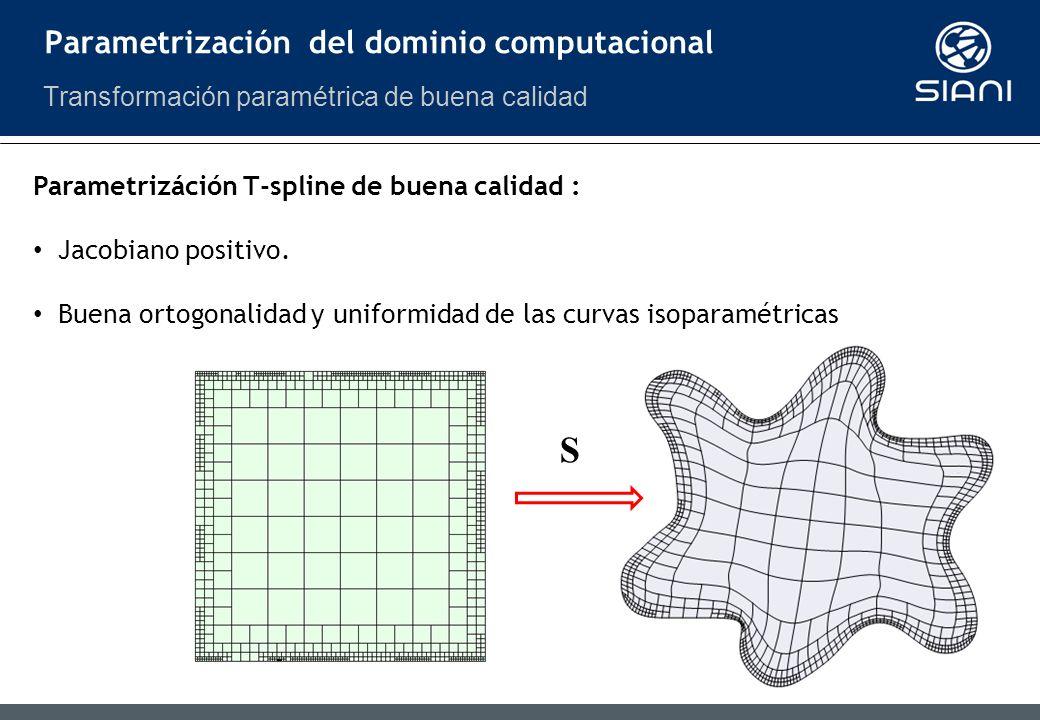 S Parametrizáción T-spline de buena calidad : Jacobiano positivo.