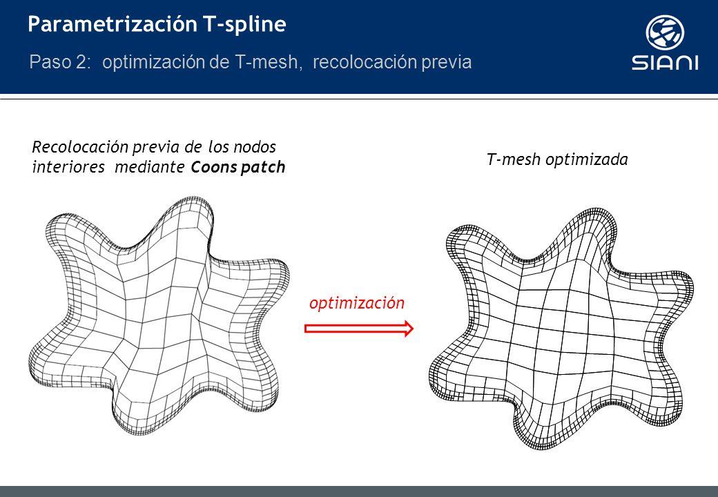 Parametrización T-spline Paso 2: optimización de T-mesh, recolocación previa Recolocación previa de los nodos interiores mediante Coons patch T-mesh optimizada optimización