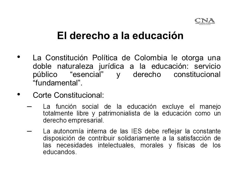 El derecho a la educación La ley 30 de 1992, fortalece la educación superior: – Propende por el reconocimiento público al logro de altos niveles de calidad.