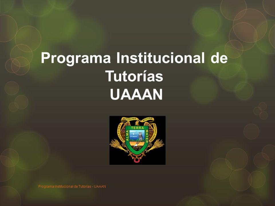 Programa Institucional de Tutorías UAAAN Programa Institucional de Tutorías - UAAAN