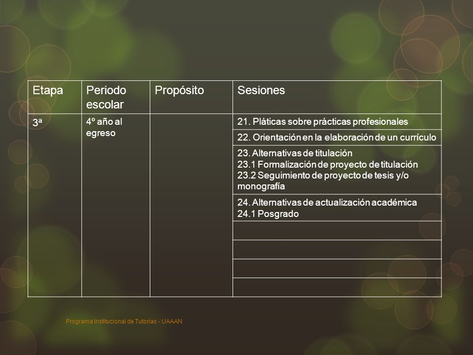 Programa Institucional de Tutorías - UAAAN EtapaPeriodo escolar PropósitoSesiones 3ª 4º año al egreso 21. Pláticas sobre prácticas profesionales 22. O