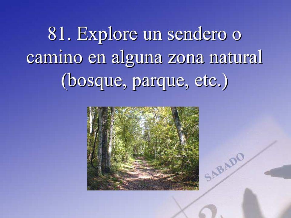 81. Explore un sendero o camino en alguna zona natural (bosque, parque, etc.)