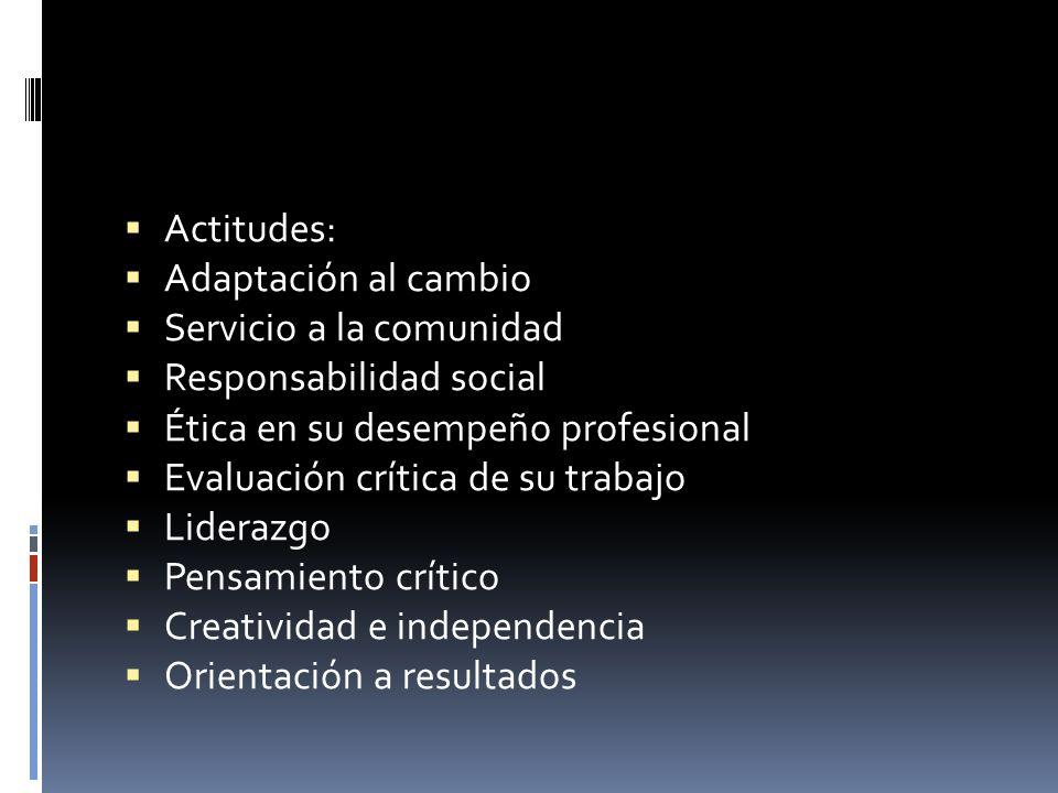 Actitudes: Adaptación al cambio Servicio a la comunidad Responsabilidad social Ética en su desempeño profesional Evaluación crítica de su trabajo Lide