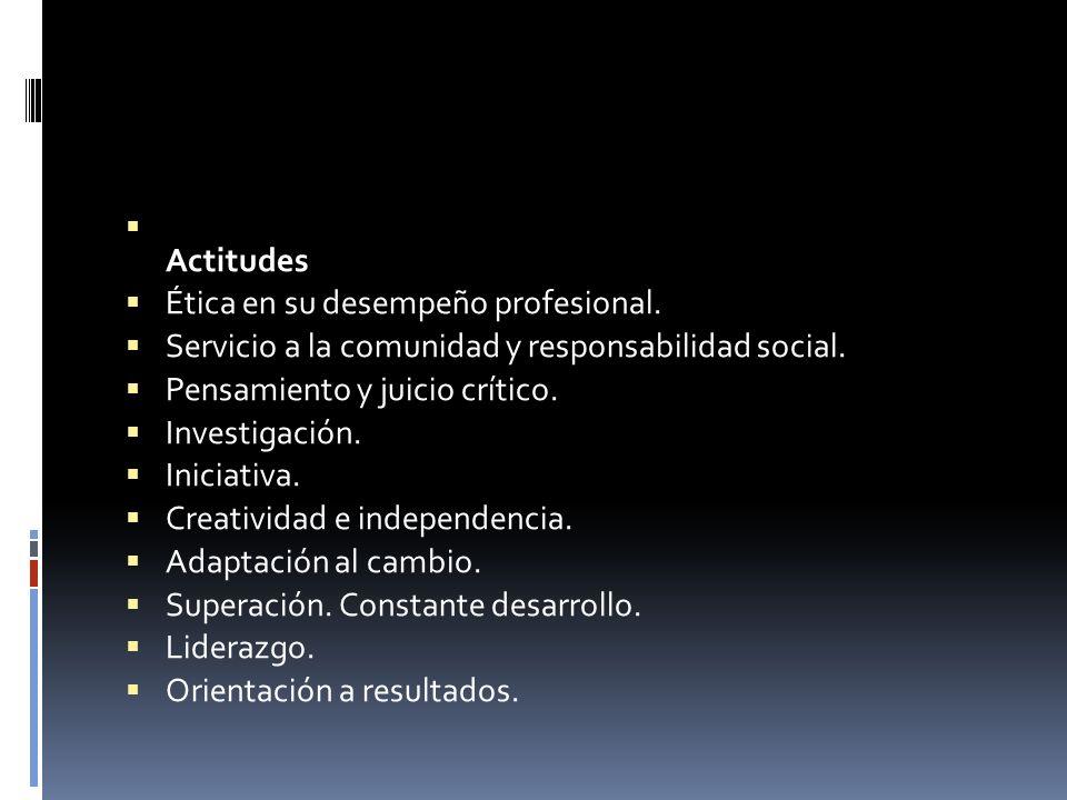 Actitudes Ética en su desempeño profesional. Servicio a la comunidad y responsabilidad social. Pensamiento y juicio crítico. Investigación. Iniciativa