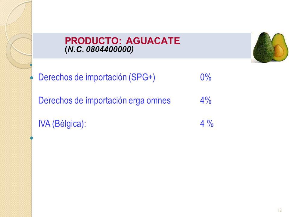 PRODUCTO: AGUACATE (N.C. 0804400000) Derechos de importación (SPG+)0% Derechos de importación erga omnes 4% IVA (Bélgica): 4 % 12