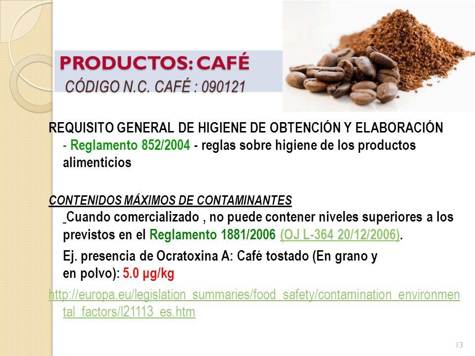 Taller Requisitos de Acceso al mercado de la UE – Alimentos - Pereira 22 Marzo 2012 PRODUCTOS: CAFÉ CÓDIGO N.C. CAFÉ : 090121 REQUISITO GENERAL DE HIG
