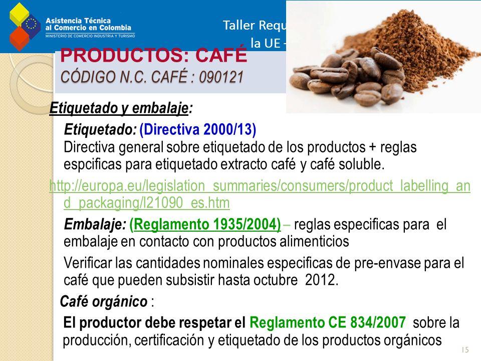 Taller Requisitos de Acceso al mercado de la UE – Alimentos - Pereira 22 Marzo 2012 CÓDIGO N.C. CAFÉ : 090121 PRODUCTOS: CAFÉ CÓDIGO N.C. CAFÉ : 09012