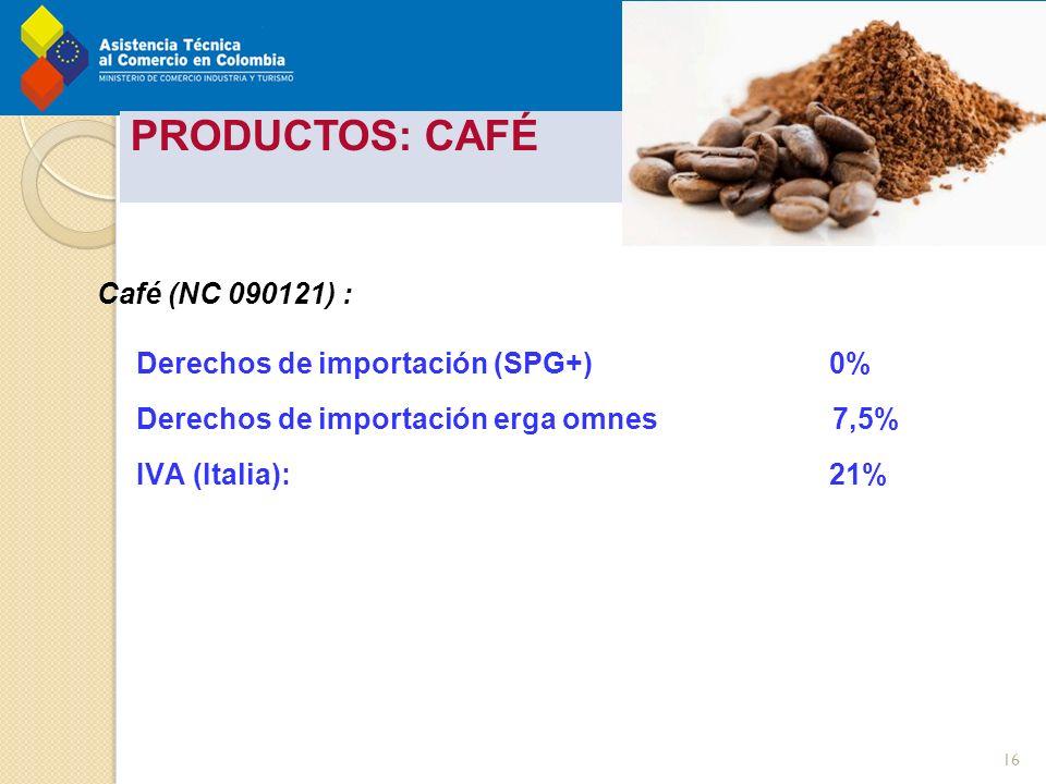 tos - Pereira 22 Marzo 2012 PRODUCTOS: CAFÉ Café (NC 090121) : Derechos de importación (SPG+)0% Derechos de importación erga omnes 7,5% IVA (Italia):