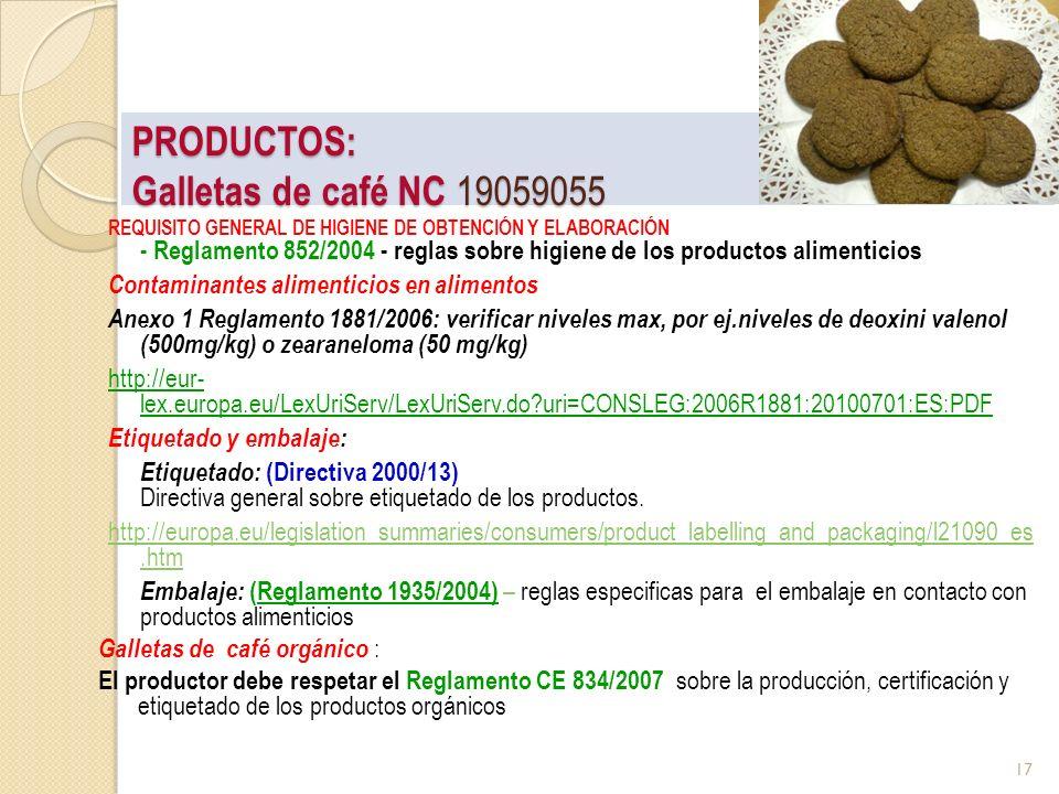 PRODUCTOS: Galletas de café NC 19059055 REQUISITO GENERAL DE HIGIENE DE OBTENCIÓN Y ELABORACIÓN - Reglamento 852/2004 - reglas sobre higiene de los pr