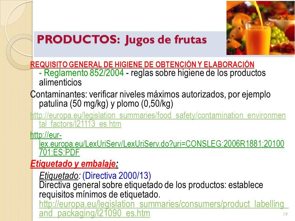 PRODUCTOS: Jugos de frutas REQUISITO GENERAL DE HIGIENE DE OBTENCIÓN Y ELABORACIÓN - Reglamento 852/2004 - reglas sobre higiene de los productos alime